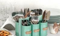 Cutiile de conserve bune pentru depozitare Sase cutii de conserve vor fi transformate intr-un suport practic