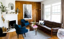 Interioare cu pereţi placaţi cu lemn pentru un impact vizual puternic