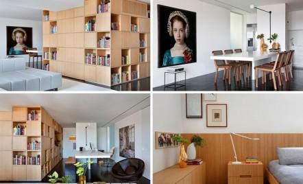 Intrarea in acest apartament, mascata de o biblioteca masiva amplasata pe mijloc