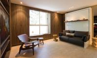 Mobilierul ergonomic eficientizeaza la maxim cei 27 mp ai apartamentului Arhitectul brazilian Fabio Cheman s-a folosit