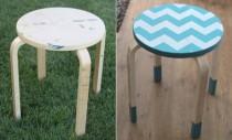 Decoratiune cu material pentru un scaunel din lemn