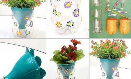 Ghivece de flori din sticle de plastic
