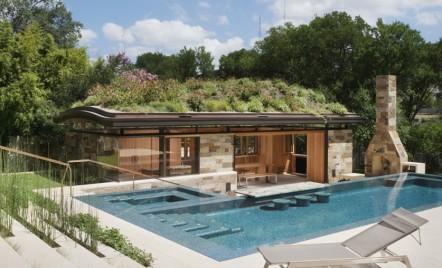 O piscină modernă pune în valoare o cabană din lemn și sticlă cu un acoperiș plin de flori sălbatice