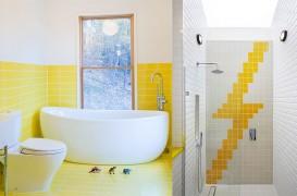 Zece exemple despre cum puteți insera un strop de galben în baie