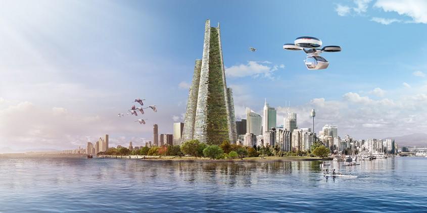 Un oraş-pădure cu 200.000 de locuitori, spitale şi universităţi, concentrat în patru turnuri