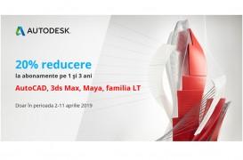 FLASH PROMO: 20% reducere la AutoCAD, 3ds Max, AutoCAD LT și AutoCAD Revit LT Suite