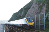 Paravan protectie terasament cale ferata partial distrus de alunecari de teren in Dawlish - UK