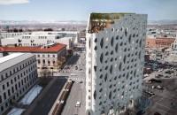 O clădire cu ferestre inspirate de scoarţa unui arbore