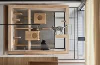 O casă modernă proiectată special pentru o familie de feline, instalată în living Cutia din sticla incadrata de lamele din lemn masiv este sustinuta de tevi din metal si suspendata la inaltime astfel incat pisicile sa poata vedea pe fereastra