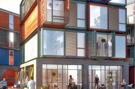 Complex de apartamente făcut din containere de transport maritim