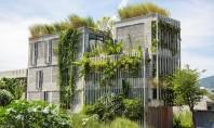 O clădire de birouri verde acoperită cu plante native Firma de arhitectura Ho Khue Architects a