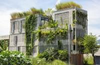 O clădire de birouri verde acoperită cu plante native