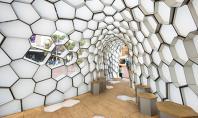 Pavilion cu forme geometrice puse in valoare cu ajutorul luminilor Dupa aproape douasprezece luni de planificare