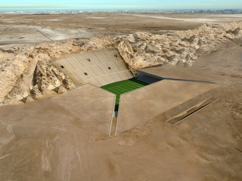 Stadionul Al Ain o volumetrie ascunsa in desert