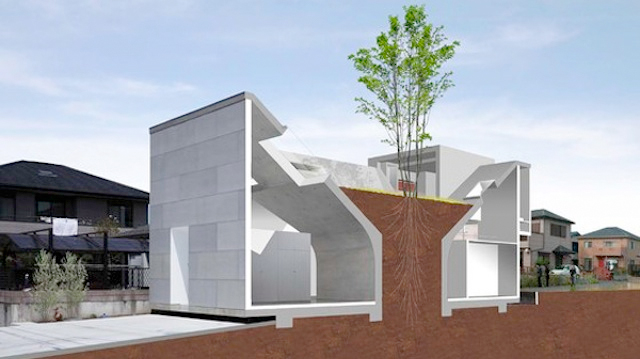 Casa construita in jurul unei coloane de pamant
