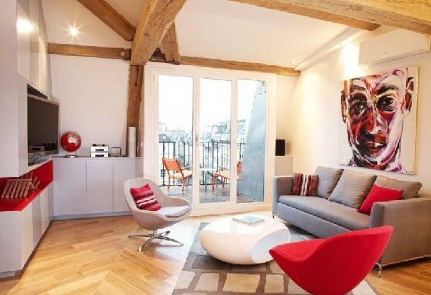 Inspiratie in rosu si alb pentru interioare moderne