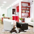 Amenajare in alb-rosu, pentru un apartament de 62 mp