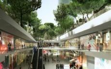 Propunere pentru un nou mall subteran in Barcelona avand un parc urban deasupra