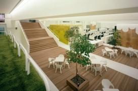 Copaci, iarba artificiala si mobilier de gradina, pentru un spatiu de birouri neconventional