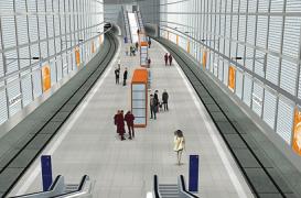 Statie de metrou in Leipzig, finisata cu ajutorul caramizilor din sticla