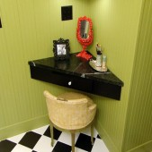 Amenajare bucatarie, dormitor si baie in forma trapezoidala