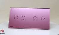 Intrerupator dublu + dublu, cu touch Livolo din sticla  - 360°