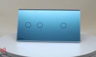 Intrerupator dublu + simplu, cu touch Livolo din sticla