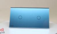 Intrerupator simplu + simplu cu touch Livolo din sticla Bleu