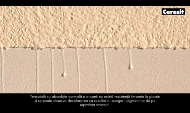 Rezistenta indelungata la ploaie si la spalare a tencuielii elastomerice Ceresit CT 79