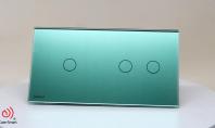 Intrerupator simplu + dublu cu touch Livolo din sticla Verde