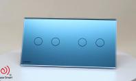 Intrerupator dublu + dublu cu touch Livolo din sticla - Bleu