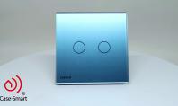 Intrerupator dublu, wireless, cu touch Livolo din sticla - 360°
