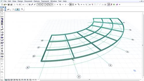 Grinzi curbe - Crearea unui sistem de axe cu grinzi curbe GRAPHISOFT
