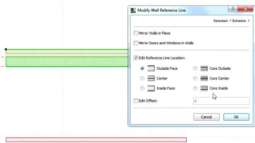 Liniile de referinta la pereti - Modificarea si mutarea liniilor de referinta GRAPHISOFT