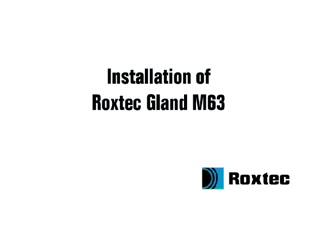 Instalare Roxtec RG M63 ROXTEC
