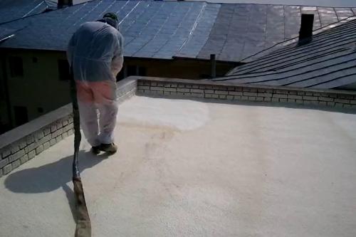 Aplicare spuma poliuretanica acoperis - terasa BASF